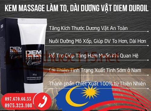 Kem Bôi Làm To, Dài Dương Vật Diem Duroil Massage Cream Tuýp 30 Gram