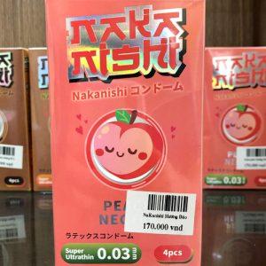 Bao cao su Nhật Bản Nakanishi - siêu mỏng 0.03, hương đào - 4 chiếc