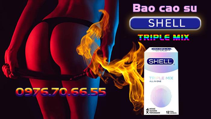 Bao cao su Shell Triple Mix siêu mỏng có gai