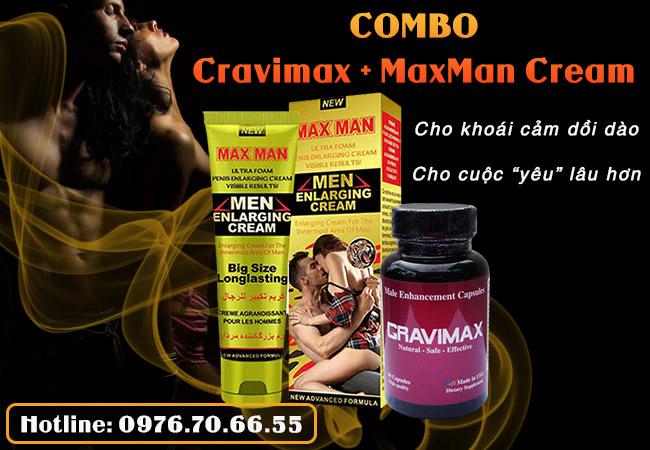 Combo Cravimax + MaxMan Cream cải thiện đa diện sinh lý ở nam giới