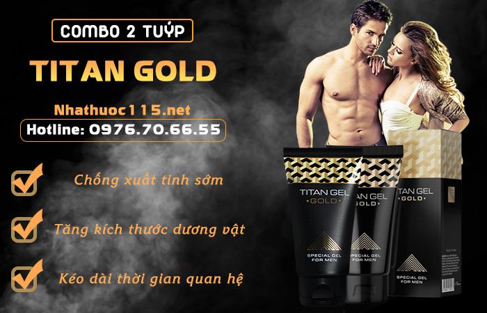 Combo 2 tuýp gel Titan Gold tăng kích thước dương vật