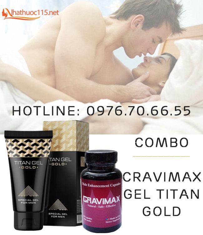 Combo Cravimax + Gel Titan Gold chống xuất tinh sớm hiệu quả